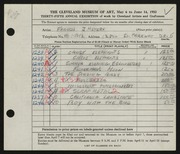 Entry card for Meyers, Francis J. for the 1953 May Show.