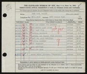 Entry card for Miller, John Paul for the 1953 May Show.