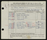 Entry card for Morrison, Doris C. for the 1953 May Show.