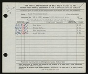 Entry card for Myers, Jack Frederick for the 1953 May Show.