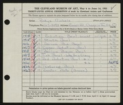 Entry card for Nichols, Ardys for the 1953 May Show.