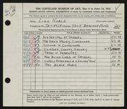 Entry card for Noble, Liza for the 1953 May Show.