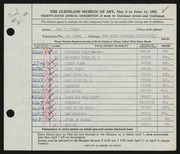 Entry card for O'Hara, Jean for the 1953 May Show.