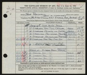 Entry card for Parshall, Harriet Jane for the 1953 May Show.