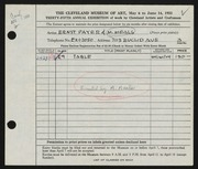 Entry card for Payer, Ernst, and Meals, M. for the 1953 May Show.