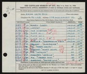 Entry card for Peck, Miriam Smith for the 1953 May Show.