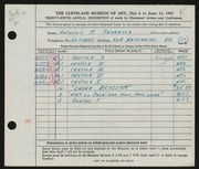 Entry card for Petrecca, Anthony M. for the 1953 May Show.