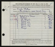 Entry card for Phillips, Douglas for the 1953 May Show.