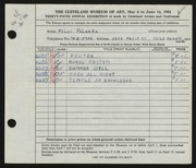Entry card for Polanka, Helen for the 1953 May Show.