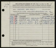 Entry card for Pratt, Barbara Ann for the 1953 May Show.