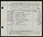 Entry card for Prochaska, Richard C. for the 1953 May Show.