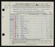 Entry card for Cass, Caroline Pickands for the 1953 May Show.