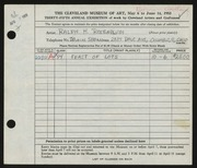 Entry card for Rosenblum, Ralph H. for the 1953 May Show.
