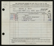 Entry card for Roth, Henry E. for the 1953 May Show.