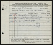 Entry card for Samolar, Esther R. for the 1953 May Show.