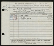 Entry card for Schepis, Nino for the 1953 May Show.
