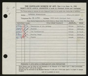 Entry card for Schmeckebier, Laurence Eli for the 1953 May Show.