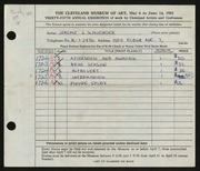 Entry card for Schuerger, Jerome J. for the 1953 May Show.