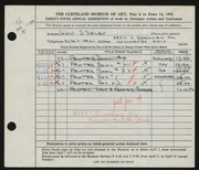 Entry card for Selby, John S., and Peck, Miriam Smith for the 1953 May Show.