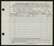 Entry card for Shaw, Glenn M. for the 1953 May Show.