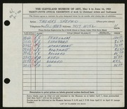 Entry card for Shepko, Thomas for the 1953 May Show.