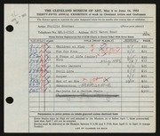 Entry card for Sherman, Phyllis for the 1953 May Show.