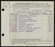 Entry card for Shogren, Kinley for the 1953 May Show.
