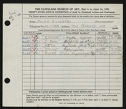 Entry card for Silvestro, Ralph for the 1953 May Show.