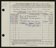 Entry card for Smith, Anne Jessop for the 1953 May Show.