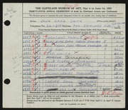 Entry card for Smith, Joan Hang for the 1953 May Show.