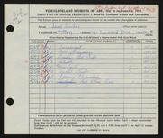Entry card for Snyder, Jane for the 1953 May Show.