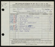 Entry card for Stanczak, Julian for the 1953 May Show.