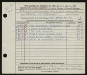 Entry card for Stewart, Grace M. for the 1953 May Show.