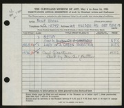 Entry card for Stoll, Rolf for the 1953 May Show.