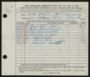 Entry card for Strickland, James Dudley for the 1953 May Show.