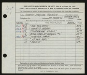 Entry card for Takatch, Robert for the 1953 May Show.