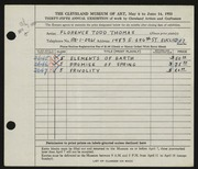 Entry card for Thomas, Florence Todd for the 1953 May Show.