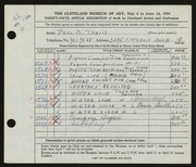 Entry card for Travis, Paul Bough for the 1953 May Show.