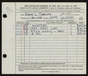 Entry card for Tubbesing, Robert L. for the 1953 May Show.