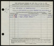 Entry card for Vaiksnoras, Anthony for the 1953 May Show.
