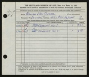 Entry card for Van Duzer, William A. for the 1953 May Show.
