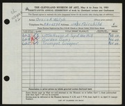 Entry card for Walsh, Grace for the 1953 May Show.