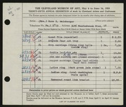 Entry card for Weinberger, Rose K. for the 1953 May Show.