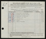 Entry card for Weiner, Bernard for the 1953 May Show.