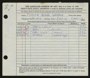 Entry card for Whipple, Judith Butler for the 1953 May Show.