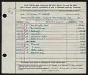 Entry card for Whitsett, William F. for the 1953 May Show.
