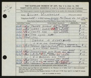 Entry card for Wilkenloh, Lillian for the 1953 May Show.