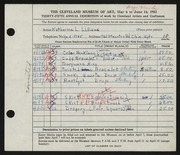 Entry card for Williams, Katherine for the 1953 May Show.