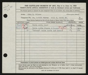 Entry card for Wilson, John R. for the 1953 May Show.