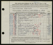 Entry card for Winter, H. Edward for the 1953 May Show.